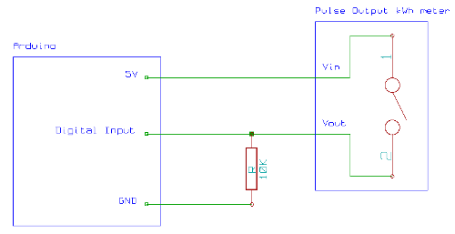 learn openenergymonitor pulse output meter to arduino connection diagram
